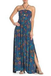Free People Summer Boho Blue Floral Maxi Dress Small $60.00