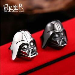 Cool punk Rave Christmas For Women Men#x27;s Stainless steel Ring Darth Vader $15.86