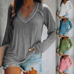 Women Fall V Neck Long Sleeve T Shirt Casual Solid Blouse Loose Tunic Basic Tops $16.09