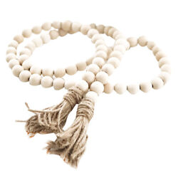 Handmade Wooden Beads Garland Farmhouse Country Tassels Bed Wall Hanging Decor $10.21
