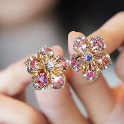 925 Silver Flower Zircon Crystal Earrings Ear Stud Women Jewelry Xmas Gifts Hot $1.89