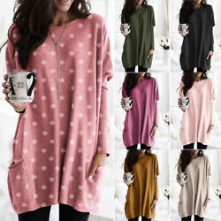 Women Long Sleeve Crew Neck T shirt Loose Casual Pocket Tunic Lot Tops Plus Size $14.39