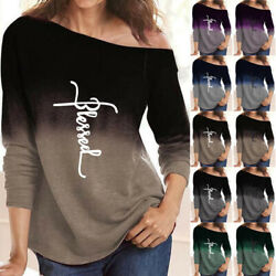 Women Long Sleeve Casual Tee Crew Neck T Shirt Loose Gradient Print Blouse Tops $16.99