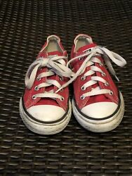 Converse All Star Boy Girl Red Shoes 12.5 Ox Classic Low Top Youth Child $9.00