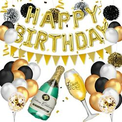 Gold amp; black birthday party decorations Kit $19.95