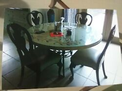Kitchen Table Stone Top Metal Base kitchen table only $200.00