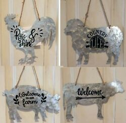Metal Farm Animal Shaped Hanging Sign Country Rustic Home Decor $8.99