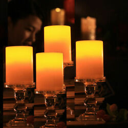 Pack of 4 3X4 Inches Flameless Plastic Pillar Led Candle Light With Timer NEW $15.99