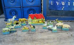 Small Antique Toy Farm with Animals Cardboard w Wood Stands Putz Village $58.00