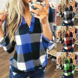 Plus Size Women Casual Long Sleeve Plaid Check T Shirt Ladies V Neck Tops Blouse $13.99