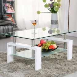 Coffee Table Glass Modern Shelf Wood Living Room Furniture Rectangular $79.28