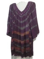 Shoreline Women#x27;s Plus Boho Tie Dye Purple Blouse NWT 5X $16.99