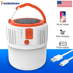 280W Solar LED Bulb USB Rechargeable Tent Lantern Emergency Camping Lamp 5Modes $14.05