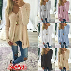 Women Loose V Neck Long Sleeve Knitted Jumper Sweater Casual Pullover Blouse Top $15.99