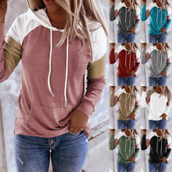 Women Long Sleeve Pullover Casual T Shirt Splice Hooded Blouse Loose Pocket Tops $15.93