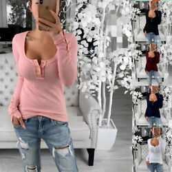 Women Round Neck Long Sleeve Sexy Stretch T Shirt Casual Loose Blouse Botton Top $16.09
