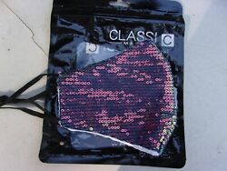 SEQUIN FACE MASK REDISH BLING WASHABLE REUSABLE ADJUSTABLE WITH FILTER POCKET $9.00