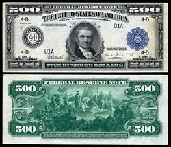 Reproduction US $500 Dollar Bill Series 1918 Large size with BLUE seal $11.96