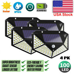 4PK 100LED PIR Motion Sensor Wall Light Solar Power Outdoor Garden Security Lamp
