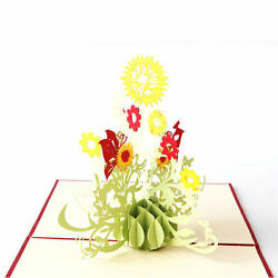 3D Paper Card Carving Pop Up Valentine Christmas Sunflower Greeting Gifts Hot $9.99