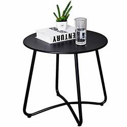 Patio Side Table OutdoorSmall Round Metal Side Table Waterproof Portable Coffee $54.51