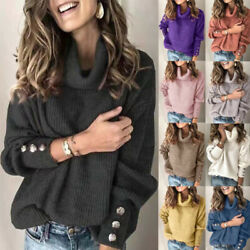 Womens Knit Long Sleeve Pullover Sweater Jumper Turtleneck Casual Tops Plus Size $16.99