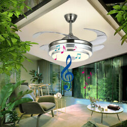 42quot;Bluetooth Invisible Fan LED Lamp Ceiling Light Music Player ChandelierRemote $119.88