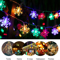 5M 50LED Battery Powered Snowflake Fairy String Lights Party Garden Decor Lamp $11.35