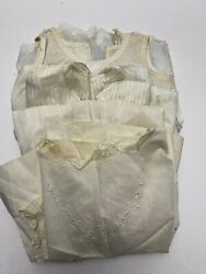 3 Authentic Antique Victorian White Baby Christening Gowns Delicate Condition $19.99