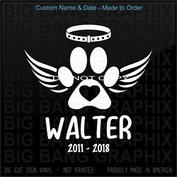Dog Memory Of Custom Name amp; Year Decal Sticker Angel Wings Window Mom Dad Family $18.88
