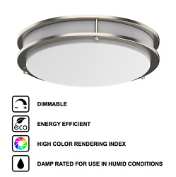 LED Ceiling Flush Mount Silver Brushed Nickel Ring 12quot; 14quot; 16quot; Integrated Lights $22.50