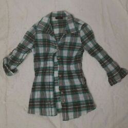 Mine 100% cotton size small plaid Button Down Shirt adjustable button sleeves $10.00