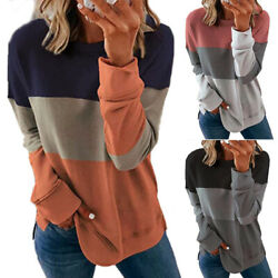 Women Casual Long Sleeve Colorblock T Shirt Blouse Loose Pullover Tunic Tops Tee $16.09