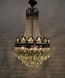 Antique Vintage Brass amp; Crystals French Chandelier Lighting Ceiling Lamp Light GBP 265.00