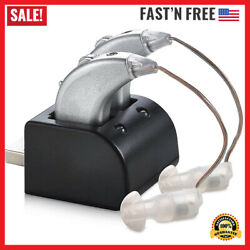 2 Digital Hearing Aids Usb Rechargeable Pair Sound Amplifier Behind the Ear Bte $47.99