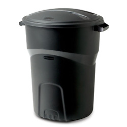 Rubbermaid Roughneck 32 Gal. Black Round Trash Can with Lid Garbage Outdoor Bin $24.99