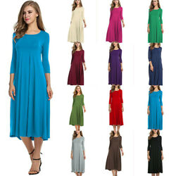 Women Crew Neck Long Sleeve Solid Maxi Dress Casual A Line Flare T Shirt Dress $12.99