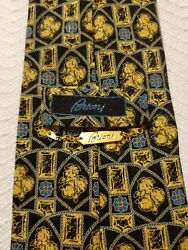 BRIONI TIE REGAL BLUE GOLD DESIGN COLORFUL BEAUTIFUL MADE ITALY SILK NECKTIE $29.99