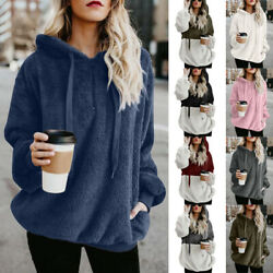 Women Long Sleeve Hooded Pullover Casual Solid Blouse Loose Tops Fleece T Shirt $15.99