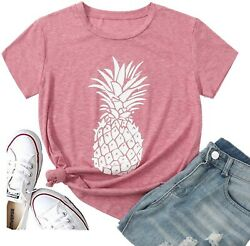 Pineapple T Shirts Womens Tops Cute Graphic Tees Summer Cute Shirts Cotton Short