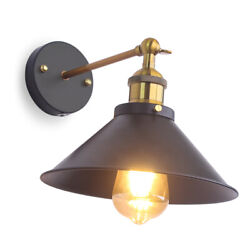 Industrial Wall Sconce Light Black Hardwire Vintage Farmhouse Swing Wall Lamps $19.98