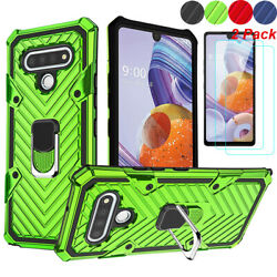 For LG Stylo 6 K51 Phone Case Shockproof Stand Cover Tempered Glass Protector $7.96