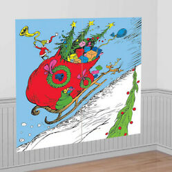 Traditional GRINCH amp; Max Scene Setter Christmas party wall BACKDROP Dr. Seuss $11.99