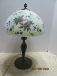 Vintage Table Lamp Metal Frosted Reverse Painted Shade Purple Roses $68.00