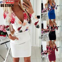 Women#x27;s Sexy Floral Bodycon Mini Dress Ladies Long Sleeve Evening Party Dresses $17.50
