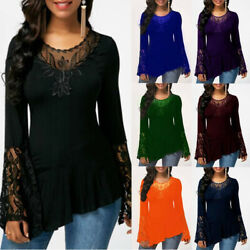 Women Casual Long Sleeve Lace T Shirt Crew Neck Basic Loose Blouse Tunic $15.99