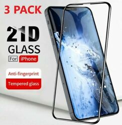 3 PACK Full Coverage Tempered Glass Screen Protector For iPhone X 11 12 Pro Mini $6.49