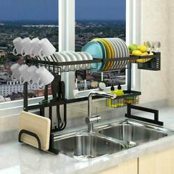 Over Sink Dish Drying Rack Drainer Shelf Stainless Steel Kitchen Cutlery Holder $46.99