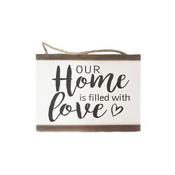 Our Home is filled with Love Hanging Rope Sign Primitive Home Decor $14.99