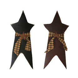 Rustic Primitive Wood Star with Bow 14.75inch Gingham Classic Country Home Decor $9.99